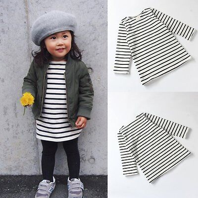 Kids Baby Girls Casual Striped Cotton Long Sleeve T-Shirt Tops Dress Clothes