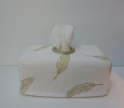 Gold Feathers on White Tissue Box Cover With Circle Opening - Great Gift Idea
