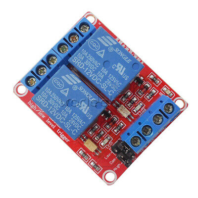 12V 2 Channel Relay Module With Optocoupler Support High Low Level Trigger NEW
