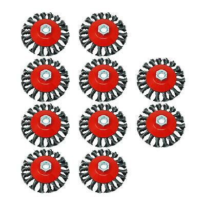 """10 Pack 4"""" Twist Knot Wire Brush / Wheel 115mm For Angle Grinder Sanding M14"""