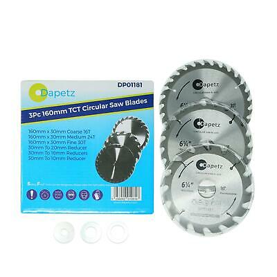"3 Circular Saw Blades 160mm Dia (6 1/4"") 30mm Bore 20 & 16 mm Reduction Ring"