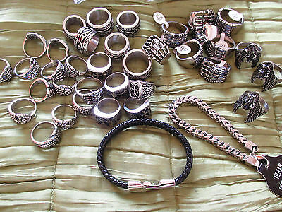 Bundle of 56 Quality Mens Steel /Leather Jewellery - Wholesale JoB Lots