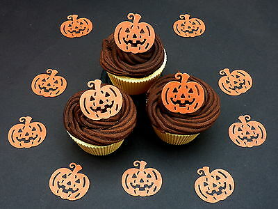 20 Pre-Cut Pumpkin Face Halloween Cup Cake Edible Rice Wafer Paper Toppers