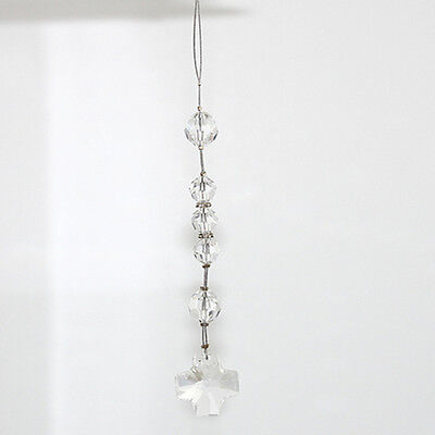 NEW  Car Rosary - Made with Swarovski Crystal with Square Cross - Crystal