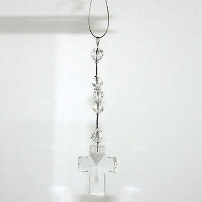 NEW  Car Rosary - Made with Swarovski Crystal with Large Cross - Crystal