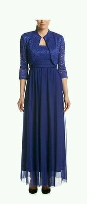 RM Richards Mother-of-the-Bride Evening Formal Women's 16 Royal Blue NWT New