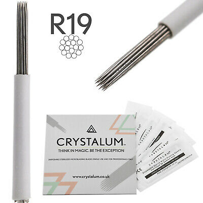 Microblading Blades Shading Needles R18 Eyebrow Manual Tattoo Tool By CRYSTALUM