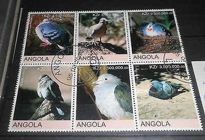 "Angola 2000 ""birds"" Used Block (Cat.9)"