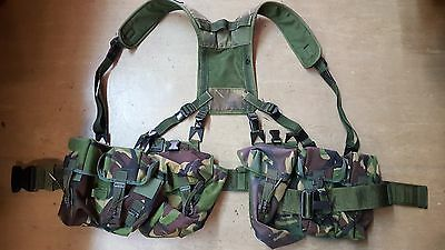 British Army Issue DPM Woodland Camo Combat Webbing With 4 Pouches Yoke