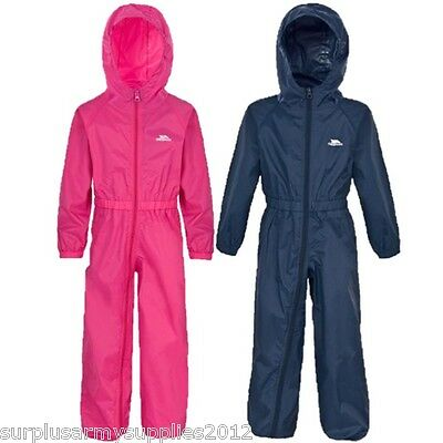Kids Trespass All In One Rainsuit Waterproof Snow Puddle Suit Girls Toddler Baby