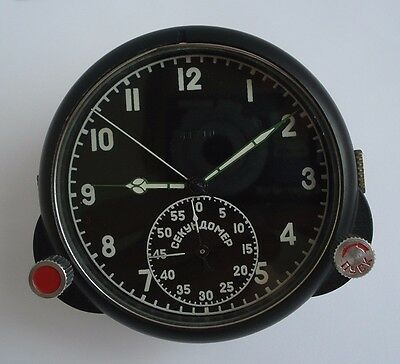 60 ChP Soviet USSR Military AirForce Aircraft Cockpit Clock (Achs) #41710