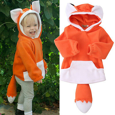Baby Kids Polar Fleece Animal Cute Cartoon Hoodie Hooded Hoody Coat Jacket 0-4Y