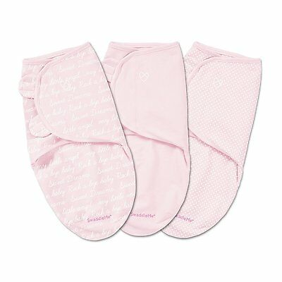 Summer Infants SwaddleMe Original Swaddle 3 Pack, Pink Cursive, Small