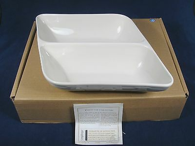 Longaberger Woven Traditions Divided Wave Serving Bowl Dish Ivory NIB