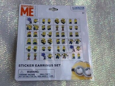 24 Pairs Girls Despicable Me Minions Sticker Earrings