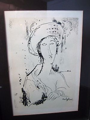 Modigliani Lithograph Woman Black White Framed Mid Century Signed in Plate