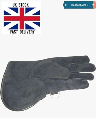 New Falconry Glove Single Layer Suede Leather 12 Inches Long Standard Size Black