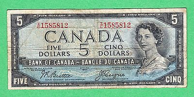 1954 Bank of Canada - $5 Devil Face Bank Note - Beattie Coyne - I/C 1585812 VG