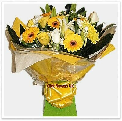 FRESH REAL FLOWERS  Delivered UK Sunny Day Bouquet Free Flower Delivery