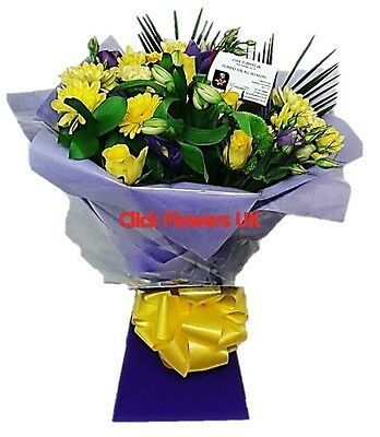 FRESH REAL FLOWERS  Delivered UK Highlight Yellow Bouquet Free Flower Delivery