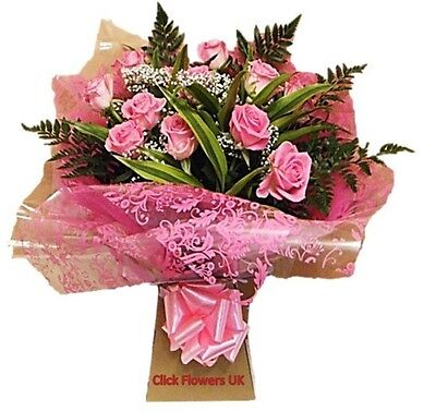 Fresh Real Flowers Delivered Perfectly Pink Real Rose Selection Bouquet