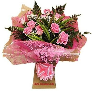Fresh Real Flowers Delivered Pink Real Rose Selection Bouquet
