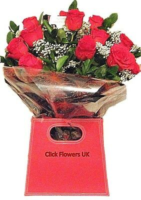 FRESH FLOWERS  Delivered UK Luxury Long Stemmed Red Roses Free Flower Delivery
