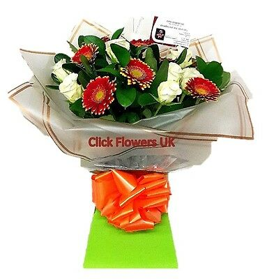 FRESH REAL FLOWERS  Delivered Rose & Gerbera Bouquet Free Flower Delivery