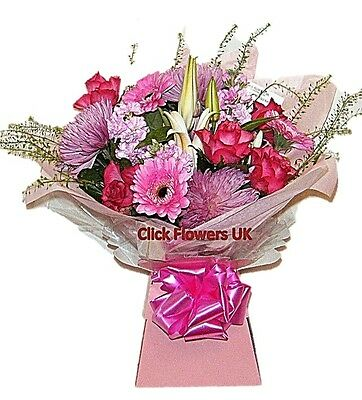 Fresh Real Flowers Delivered Pretty in Pink Florist Choice Selection Bouquet