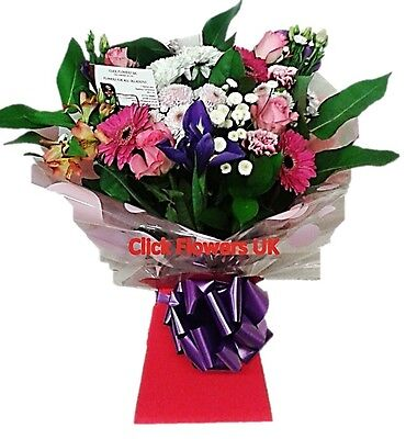 Fresh Real Flowers Delivered Click Selection Florist Choice Mixed Bouquet