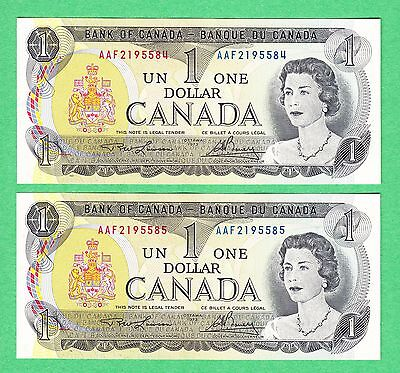 1973 Bank of Canada - $1 Bank Note - Lawson Bouey  AAF Consecutive Unc Pair