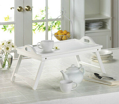 White Chic Folding Shabby Table laptop Tray Breakfast Bed Serving Tray