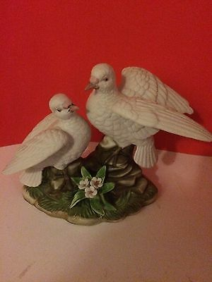 Original Classic Collectible Royal Crown Dove Figurines on a Tree Stump
