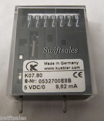Kubler K07.80 - 5VDC 7-Digit Non-Resettable Impulse Counter - Coin-Op & Vending