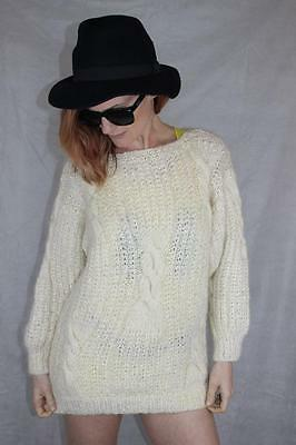 Vintage 80s HAND KNITTED Grunge OVERSIZE CABLE KNIT JUMPER S - M Rad BOHO GYPSY