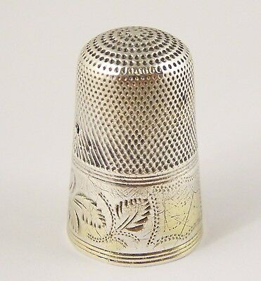 Antique Silver Thimble with Engraved Design
