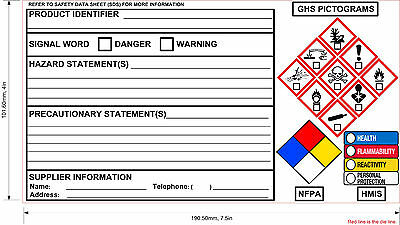 **NEW** OSHA GHS Label with HMIS and NFPA Diamond 100 sheet 70 lb High Gloss