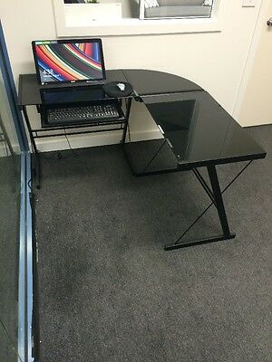 Glass Office computer Desk With Retractable Keyboard Shelf for student or office