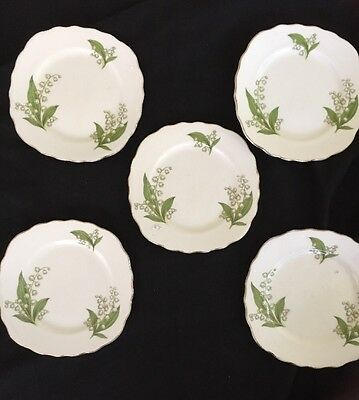 Royal Vale  English Side Plates X 5 Bone China In Vg. Cond - Snow Drops