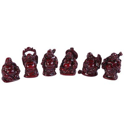 6 PCS/Set Small Buddha Figurines Feng Shui Rosewood C1024