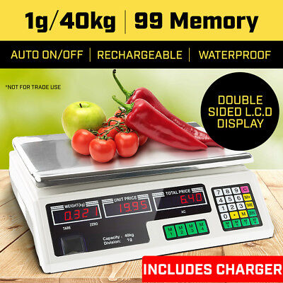 40KG Kitchen Scale Digital Commercial Shop Electronic Weight Scales Food White