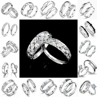 Women Man 925 Silver Sterling Plated Crystal Jewelry Lady Ring Ajustable Size
