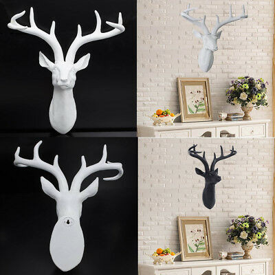 Modern Home Decor Resin Deer Head With Antlers Wall Mount Hang -White/Black AU