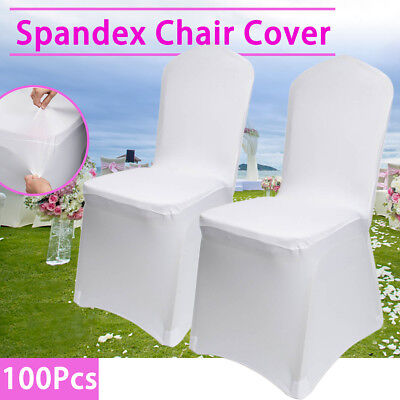 100X Chair Cover Flat Front Spandex Lycra Wedding Banque  Party Decoration White