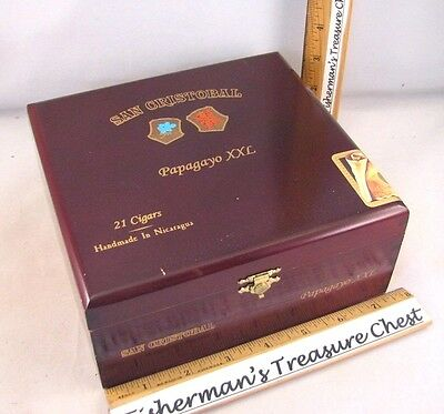 "San Cristobal Wood Cigar Box Papagayo Xxl Brand 7 1/2"" X 7"" X 3 1/4"""