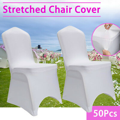 50X Chair Covers Spandex Lycra Wedding Banquet Party Decor Arched Front White