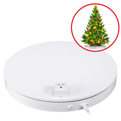 UK White 50cm 80KG Rotating Display Stand Turntable w/ Power Outlet Socket Plug