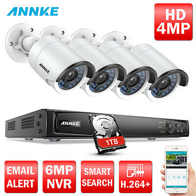 ANNKE 1080P 4CH 6MP Network NVR POE 4MP Office Security Camera System 1TB 3D DNR