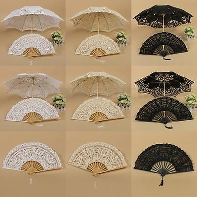 Wedding Bridal Vintage Handmade Parasol Lace Sun Umbrella Folding Hand Fan Set
