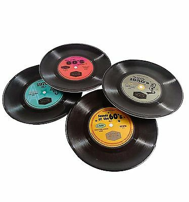 Set of 4 Retro Style Plastic Melamine Record Plates
